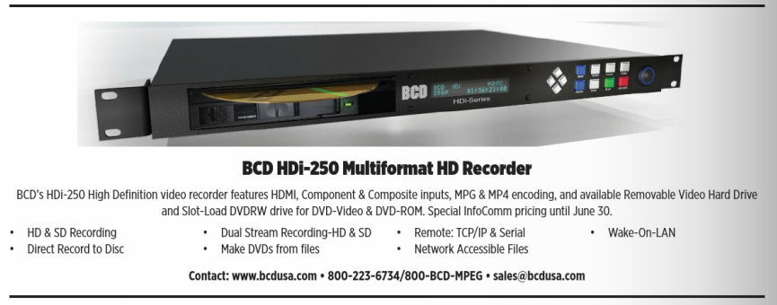 HDi-250 with Removable Hard Drive Option as featured ShowDailyAd NAB Show Daily Infocomm Show Daily